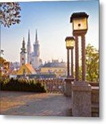 Historic Zagreb Towers Sunrise View Metal Print