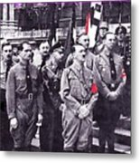 Hitler With Nazi Entourage Hess And Himmler In 2nd Row Circa 1935 Color Added 2016 Metal Print