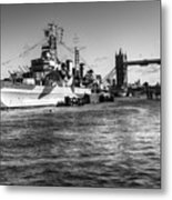 Hms Belfast And Tower Bridge 2 In Black And White Metal Print