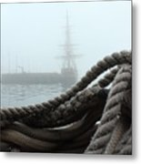Hms Bounty In The Eastport Fog Metal Print
