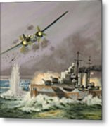 Hms Ulysses Attacked By Heinkel IIis Off North Cape Metal Print