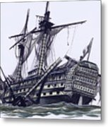 Hms Victory After The Battle Of Trafalgar, With Mizzen Topmast Shot Away Metal Print