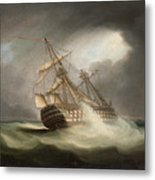 H.m.s. Victory In Full Sail And In A Squall Metal Print