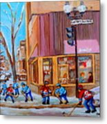 Hockey At Beautys Deli Metal Print by Carole Spandau