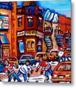 Hockey At Fairmount Bagel Metal Print