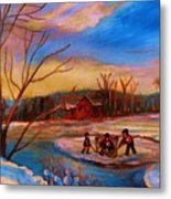 Hockey Game On Frozen Pond Metal Print