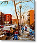 Hockey On St Urbain Street Metal Print