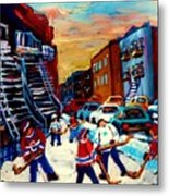Hockey Paintings Of Montreal St Urbain Street City Scenes Metal Print