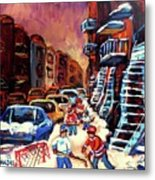 Hockey Paintings Of Montreal St Urbain Street Winterscene Metal Print