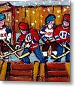 Hockey Rink Paintings New York Rangers Vs Habs Original Six Teams Hockey Winter Scene Carole Spandau Metal Print