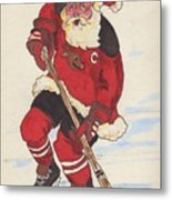 Hockey Santa Metal Print