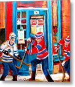 Hockey Sticks In Action Metal Print