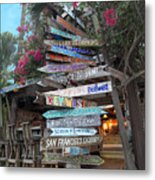 Hogfish Bar And Grill Directional Sign Metal Print
