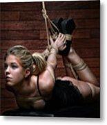 Hogtie - Tied Up Girl - Fine Art Of Bondage Metal Print by Rod Meier