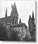 Hogwarts Castle Black And White Metal Print