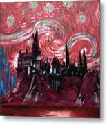 Hogwarts Starry Night In Red Metal Print
