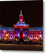 Holiday Light Panorama Of The Denver City And County Building Metal Print