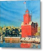 Holland Lighthouse - Big Red Metal Print