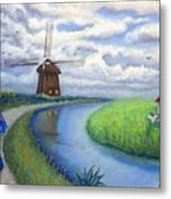 Holland Windmill Bike Path Metal Print