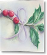Holly Sprig With Bow Metal Print