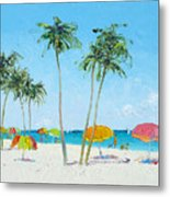 Hollywood Beach Florida And Coconut Palms Metal Print