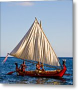 Holokai - Pacific Islander Sailing Canoe Metal Print