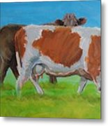 Holstein Friesian Cow And Brown Cow Metal Print