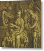 Holy Family With Angels Metal Print