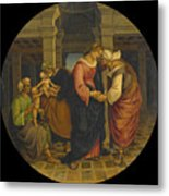 Holy Family With Saints John Elisabeth And Zacharias Metal Print