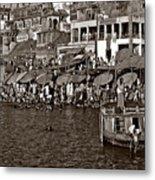 Holy Ganges Monochrome Metal Print