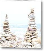 Holy Island Pebbles Metal Print