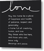 Home Blessing Black And White- Art By Linda Woods Metal Print