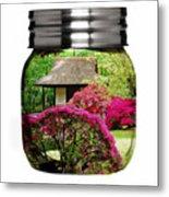 Home Flower Garden In A Glass Jar Art Metal Print