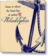 Home Is Philadelphia Anchor 3 Metal Print