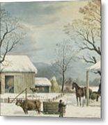 Home To Home To Thanksgiving, 1867 Metal Print