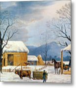 Home To Thanksgiving, 1867 Metal Print