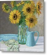Homegrown - Sunflowers In A Mason Jar With Gardening Gloves And Blue Cream Pitcher Metal Print