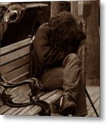 Homeless - Sepia Metal Print
