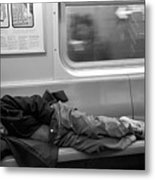 Homeless In Motion In Black And White Metal Print