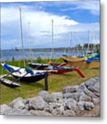 Homemade Outriggers Canoes On The Indian River Lagoon In Florida Metal Print