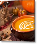Homemade Pumpkin Soup On A Rustic Table With Autumn Decorations Metal Print