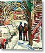 Original Art For Sale Montreal Petits Formats A Vendre Walking To School On Snowy Streets Paintings Metal Print