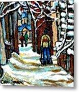 Buy Original Paintings Montreal Petits Formats A Vendre Scenes Man Shovelling Snow Winter Stairs Metal Print