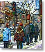 Promenade Au Centre Ville Rue Ste Catherine Montreal Winter Street Scene Small Paintings  For Sale Metal Print