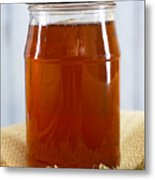 Honey In Clear Glass Jar Metal Print