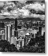 Hong Kong In Black And White Metal Print