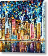 Hong Kong - Palette Knife Oil Painting On Canvas By Leonid Afremov Metal Print