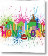 Hong Kong Skyline Paint Splatter Text Illustration Metal Print