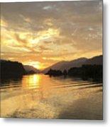 Hood River Golden Sunset Metal Print
