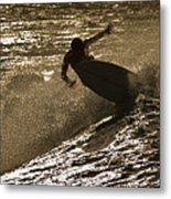 Hookipa Maui Surfer At Sunset Metal Print by Denis Dore